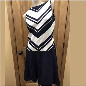 $150 Ralph Lauren Navy Blue White Sleeveless Dress